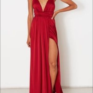 *NEW* WhiteFox to the floor red silk dress w/ slit